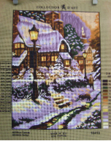 WINTER FIRESIDE GLOW Needlepoint Tapestry Canvas