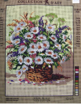 WHITE DAISIES Needlepoint Tapestry Canvas