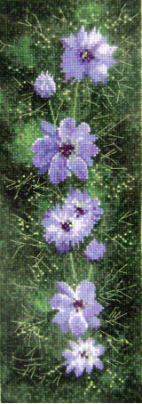 Flowers LOVE IN A MIST Counted Cross Stitch Chart
