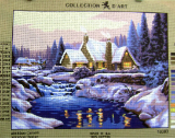 WINTER LAKE & COTTAGE Needlepoint Tapestry Canvas
