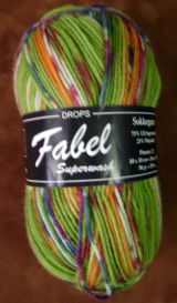 GARNSTUDIO FABEL 50-gm SOCK YARN Lime Green/Orange