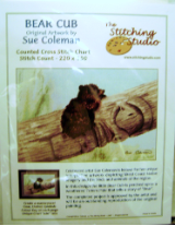 Sue Coleman BEAR CUB Counted Cross Stitch Chart