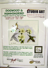 Sue Coleman DOGWOOD & HUMMINGBIRD Counted Cross Stitch Chart