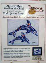 Todd Jason Baker DOLPHINS MOTHER & CHILD Counted Cross Stitch Chart