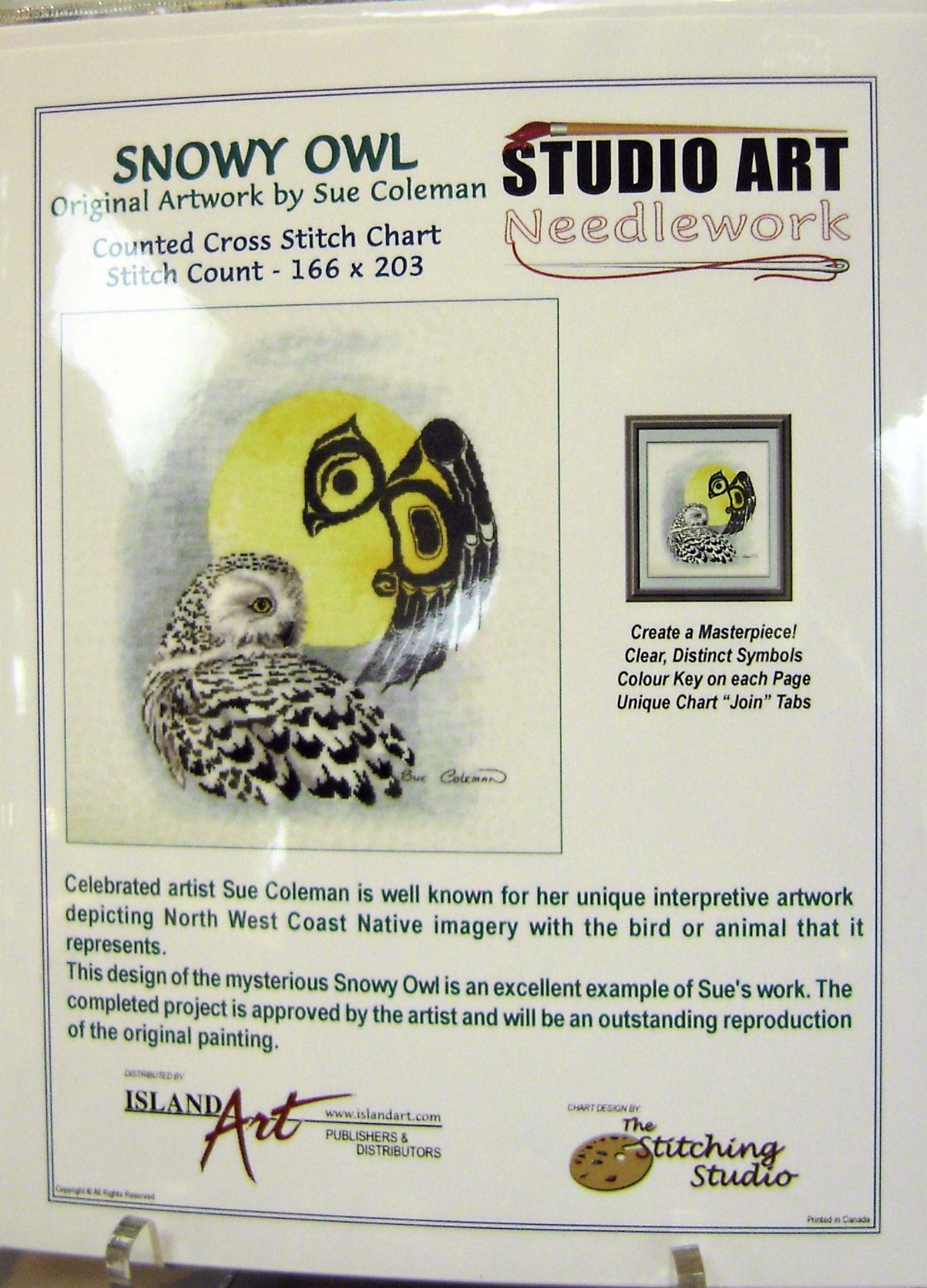 Sue Coleman Snowy Owl Counted Cross Stitch Chart